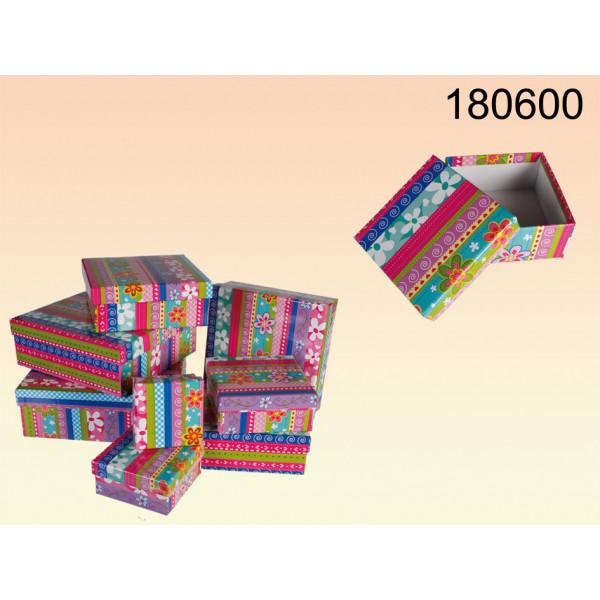 8 delige Roze / Blauwe Geschenkboxen met bloemen decor