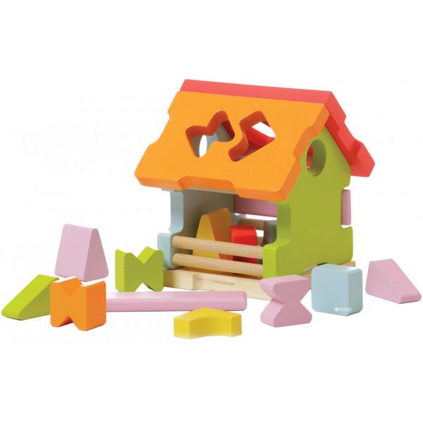 Houten vormenstoof - Sorteer Huis - insteekspel
