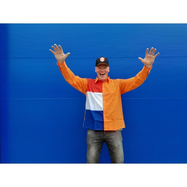 Oranje overhemd met rood-wit-blauwe - Maat M - L - XL - XXL