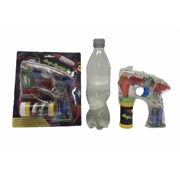3 xBellenblaas pistool met licht en geluid incl. batterijen en 1 halve liter bellenblaas sop