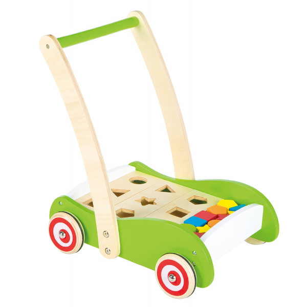 duw- loopwagen met vormenplank en blokken - lelin toys