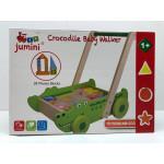duw - loopwagen met 28 houten blokken krokodil