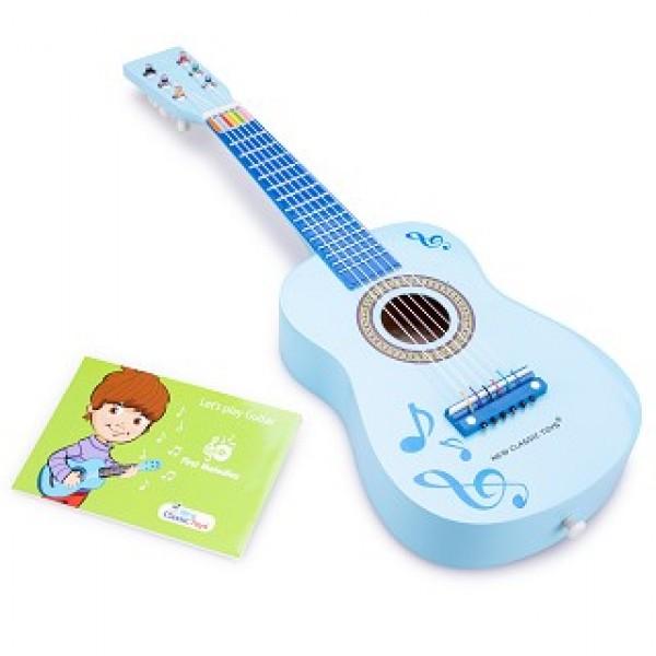 gitaar blauw met muziektekens - new classic toys