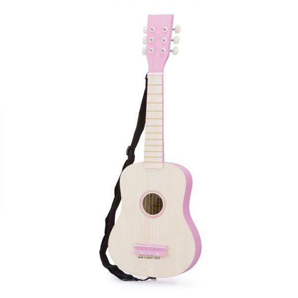 gitaar de luxe - blank/roze - GRATIS VERZENDING