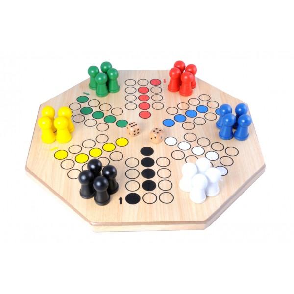 Ludo jumbo 50 x 50 cm Tweezijdig speelveld, 4 en 6 speler