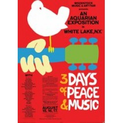 poster Woodstock festival peace and music duif Jimi Hendrix-The Who-Baez  61x91.5cm.