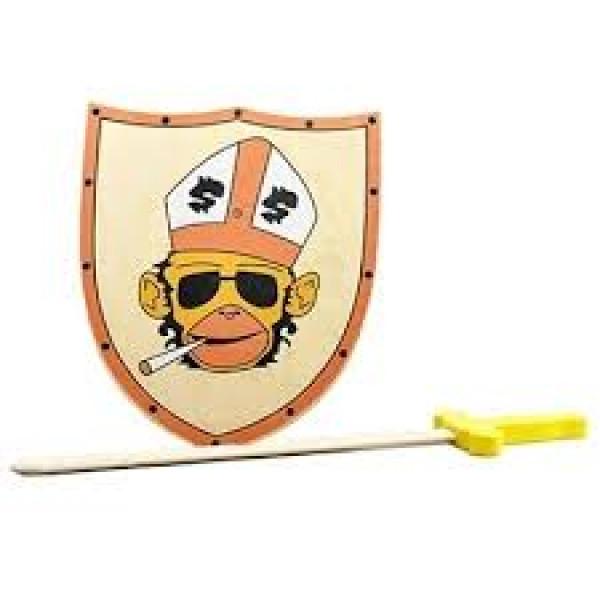 Houten Schild met zwaard Orang Oetan