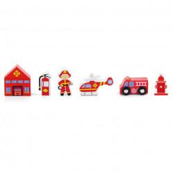trein accessoireset - brandweerkazerne - 7 delig