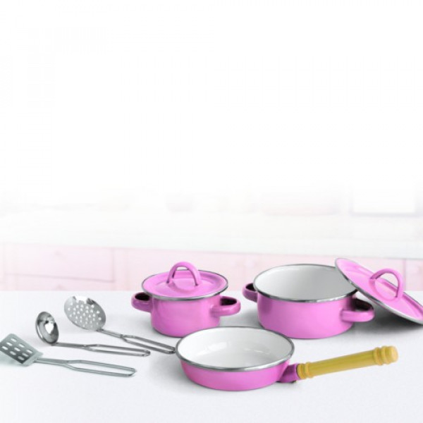Pannenset  8 dlg  roze Simply for kids