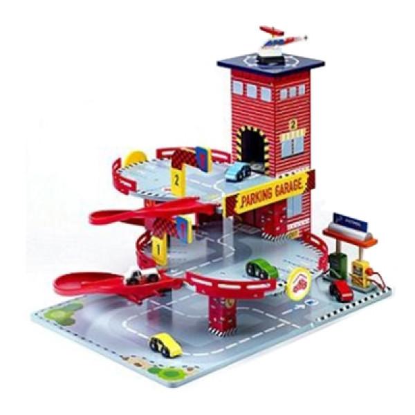 Parkeergarage rood met auto's en tankstation en helikopterdek Mentari