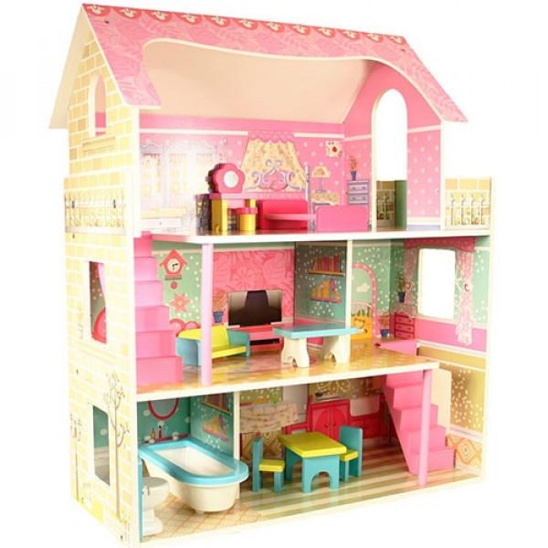 Poppenhuis roze dak groot