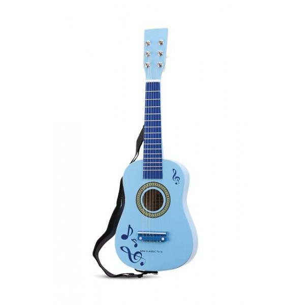 gitaar blauw met muziektekens. GRATIS VERZENDING