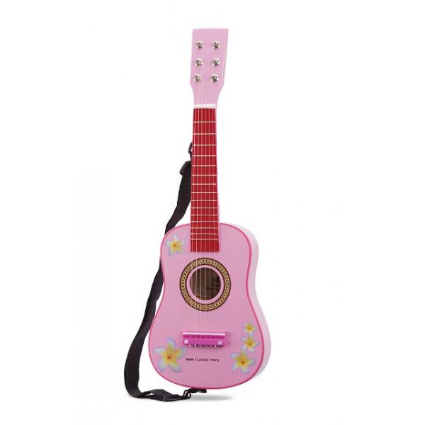 gitaar - roze met bloemen - GRATIS VERZENDING