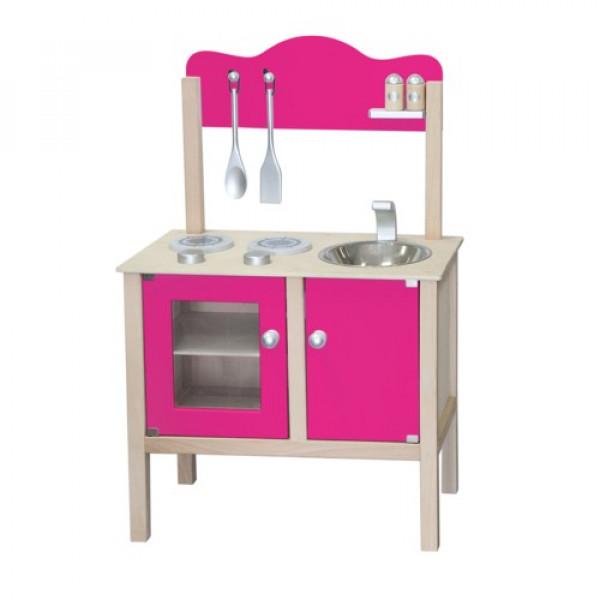 Houten combi keuken roze