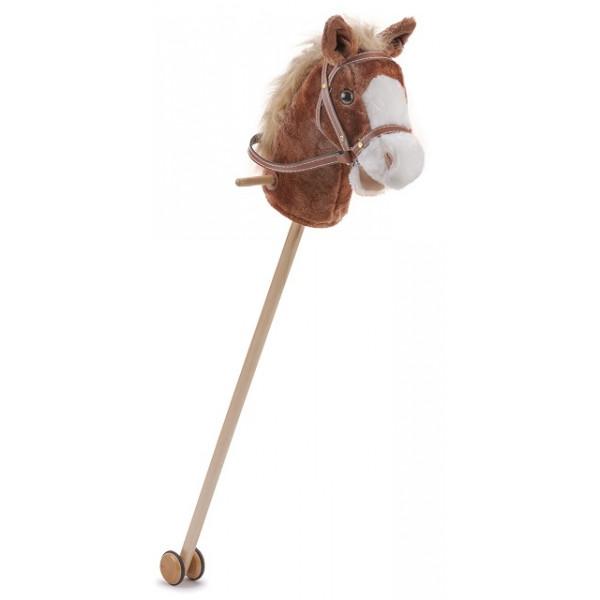 Stokpaard - donker bruin - pluche - new classic toys