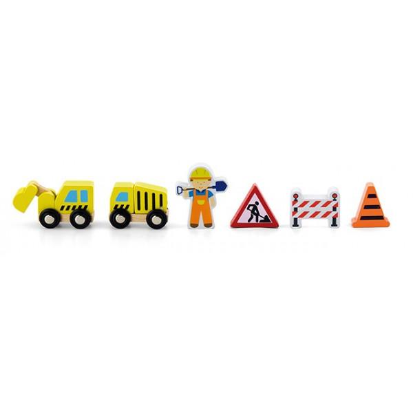 Trein accessoireset wegenbouw - 6 delig