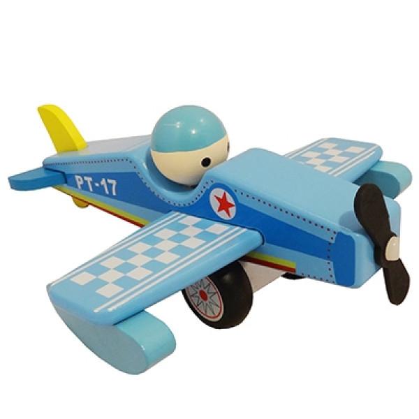 Vliegtuig blauw met vaste pop